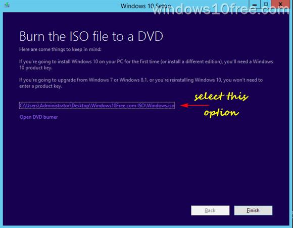 Media Creation Tool Burn ISO File