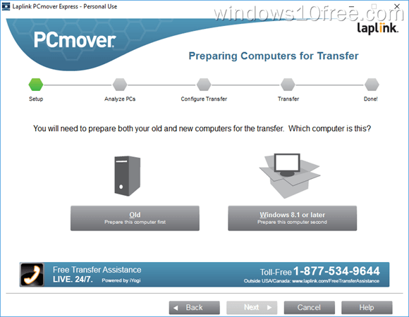 PCmover Express Peraparing Transfer