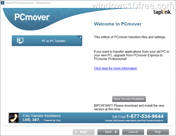PCmover Express Wizrd Start