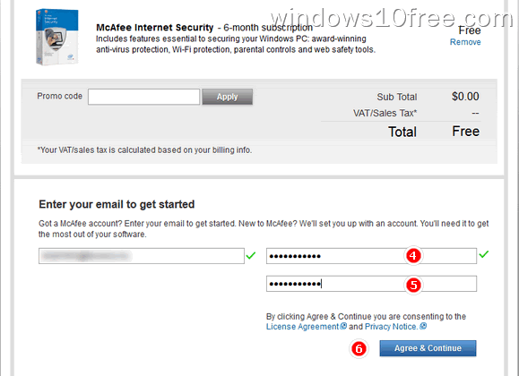 02 McAfee Internet Security Free Download 6 Month License Order Step 2