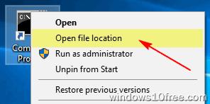 CMD Run As Administrato Method 2 Open File Location