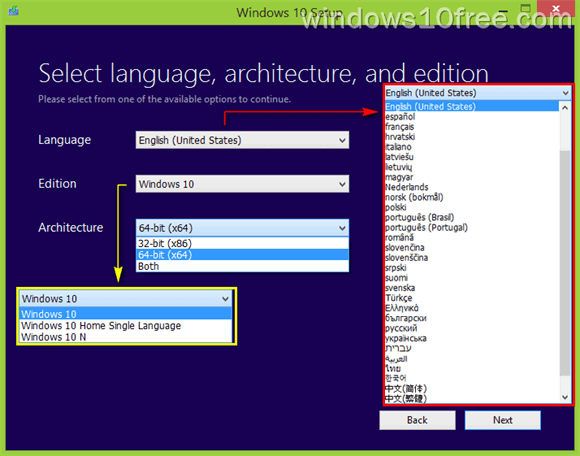 Media Creation Tools Select Language Architecture Edition Details