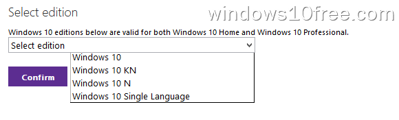 Windows 10 Download ISO Select Edition